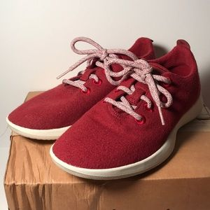 Tike Chili Allbirds Wool Sneakers Red Lace Up 8 38
